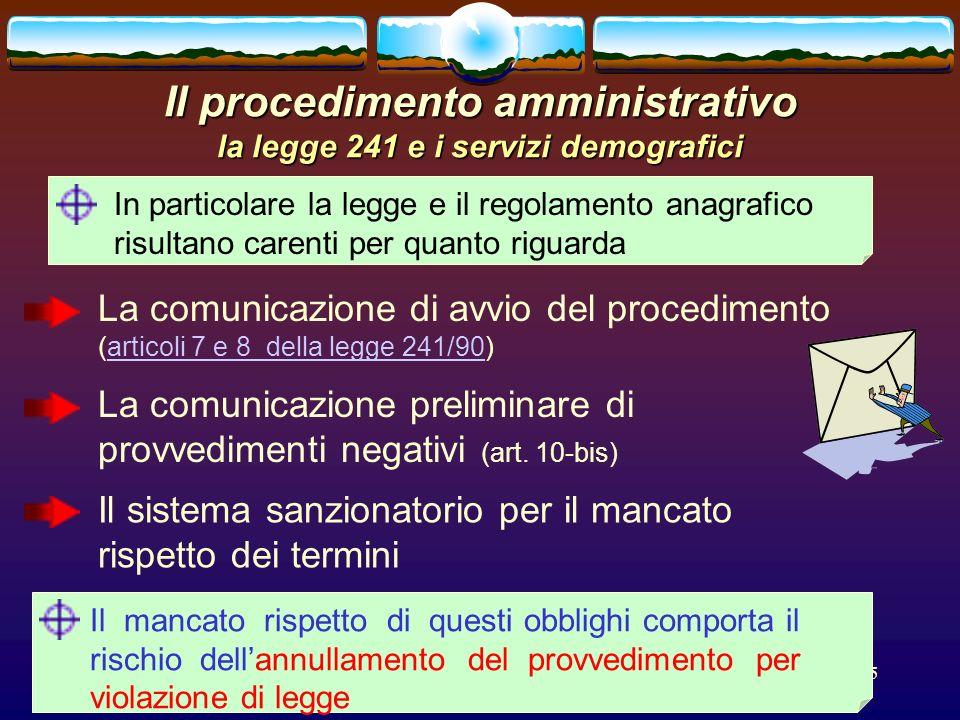 Il procedimento amministrativo la legge 241 e i servizi demografici