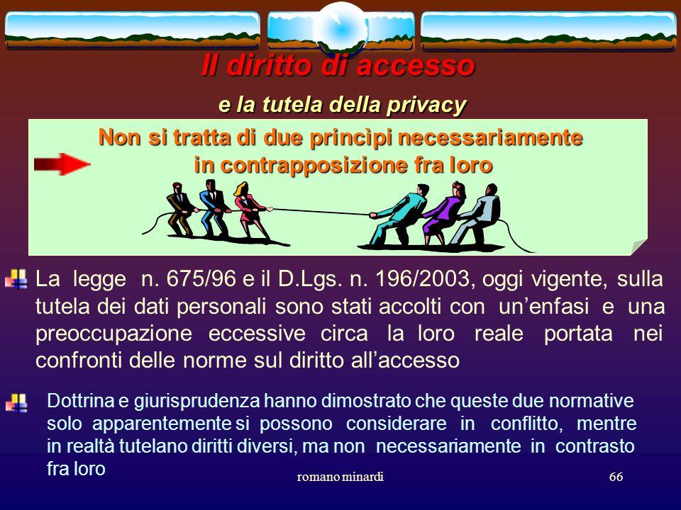 Il diritto di accesso e la tutela della privacy