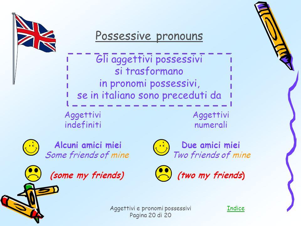 Possessive pronouns Gli aggettivi possessivi si trasformano