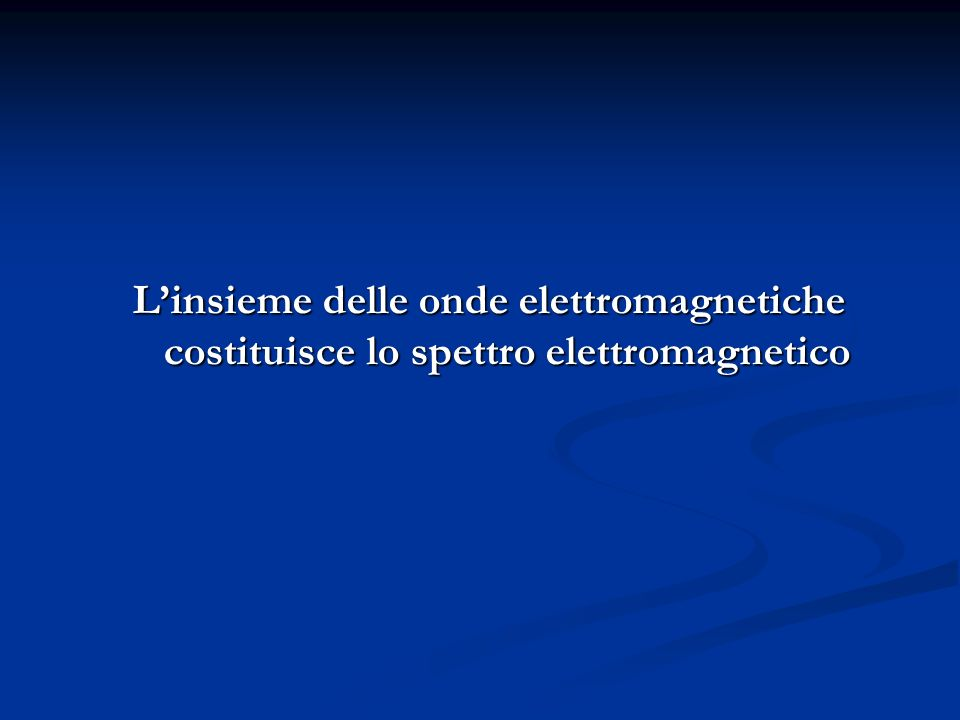 L'insieme delle onde elettromagnetiche costituisce lo spettro elettromagnetico