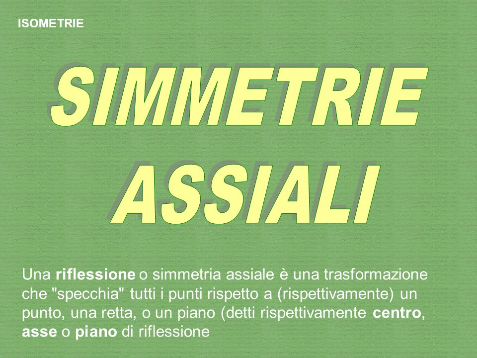 ISOMETRIE SIMMETRIE. ASSIALI.