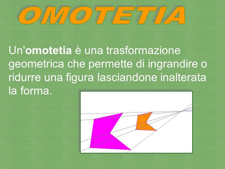 OMOTETIA Un omotetia è una trasformazione geometrica che permette di ingrandire o ridurre una figura lasciandone inalterata la forma.