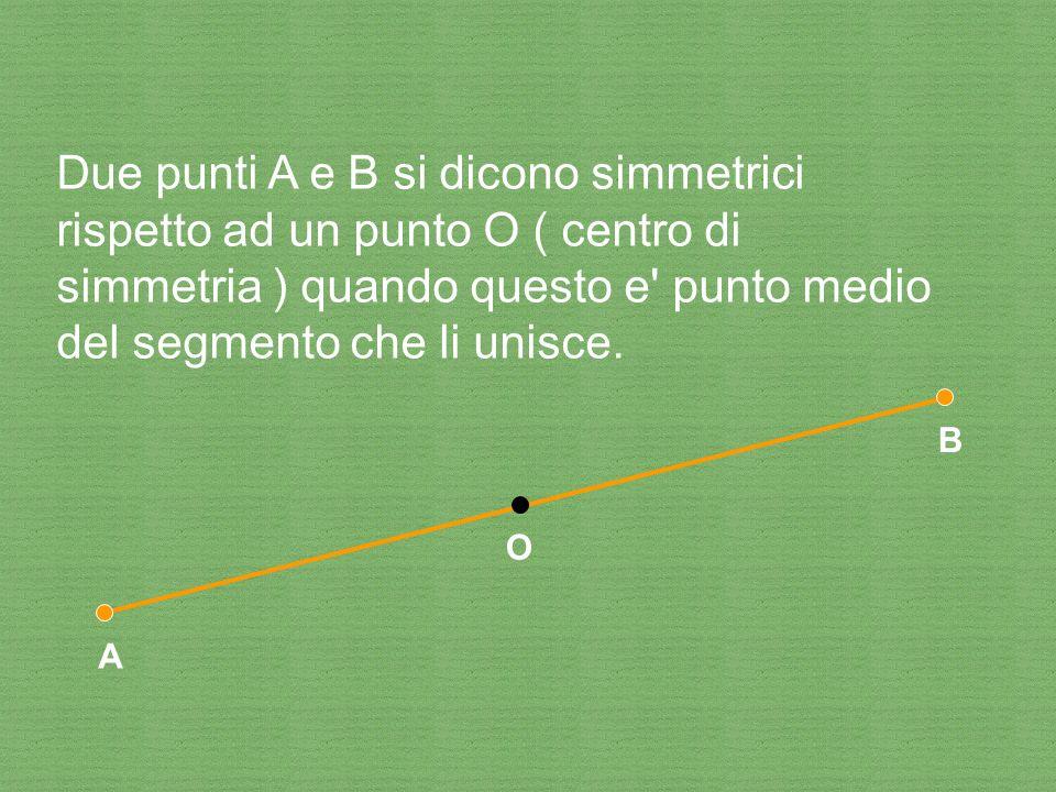 Due punti A e B si dicono simmetrici rispetto ad un punto O ( centro di simmetria ) quando questo e punto medio del segmento che li unisce.