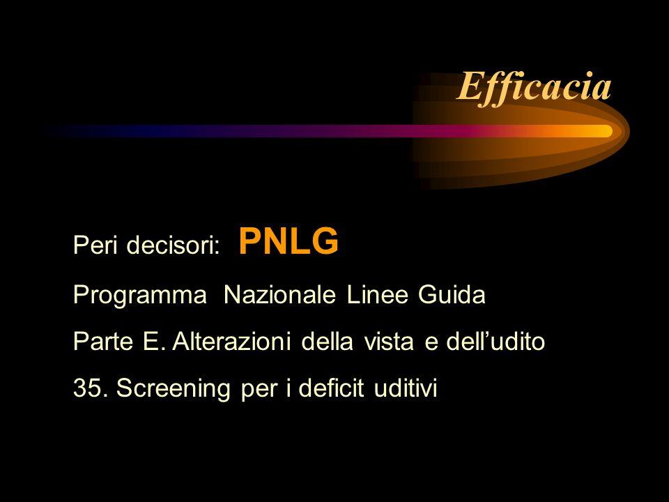 Efficacia Peri decisori: PNLG Programma Nazionale Linee Guida