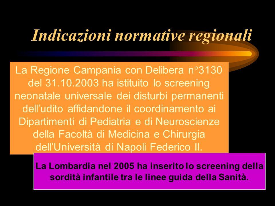 Indicazioni normative regionali