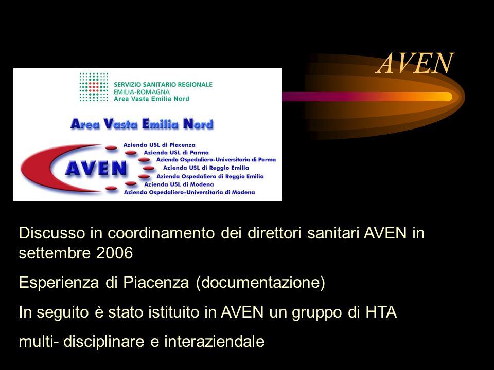 AVEN Discusso in coordinamento dei direttori sanitari AVEN in settembre 2006. Esperienza di Piacenza (documentazione)