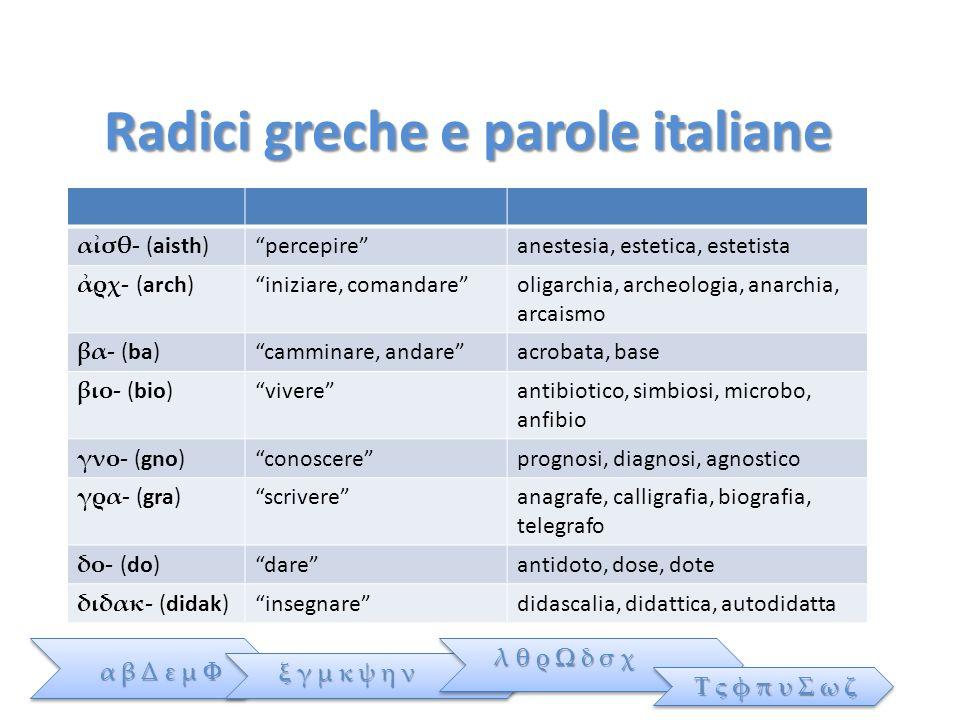 Radici greche e parole italiane