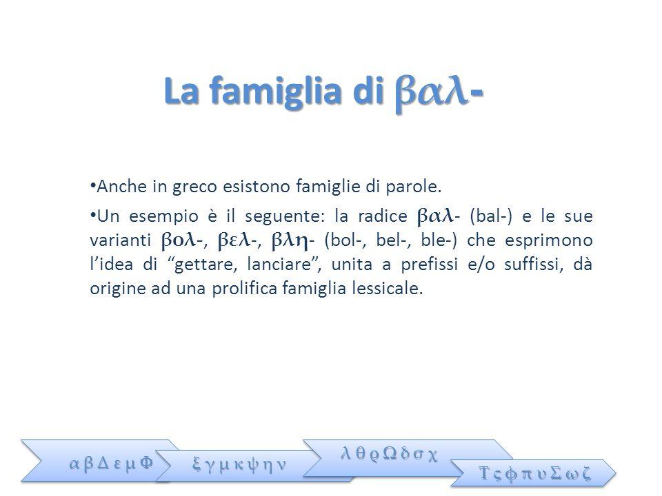 La famiglia di βαλ- Anche in greco esistono famiglie di parole.