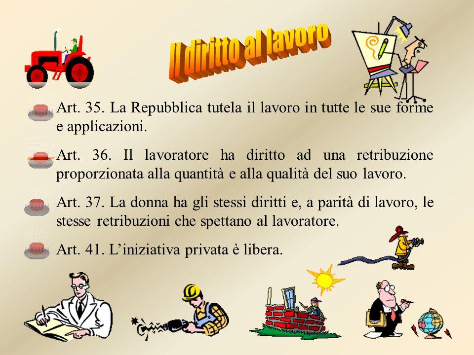 Il diritto al lavoroArt. 35. La Repubblica tutela il lavoro in tutte le sue forme e applicazioni.