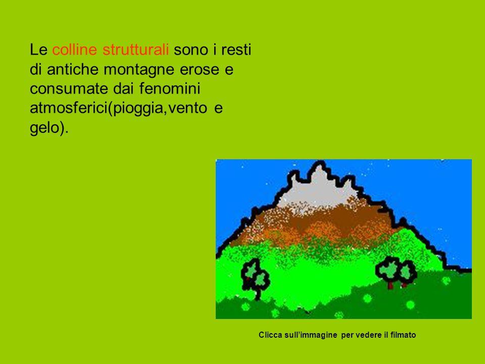 Le colline strutturali sono i resti di antiche montagne erose e consumate dai fenomini atmosferici(pioggia,vento e gelo).