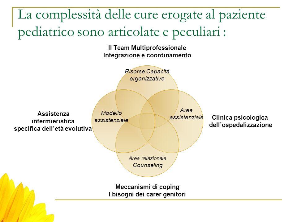 La complessità delle cure erogate al paziente pediatrico sono articolate e peculiari :