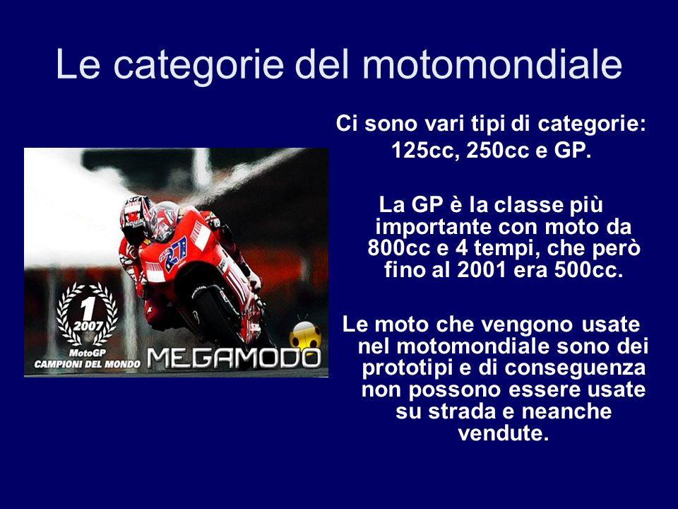 Le categorie del motomondiale