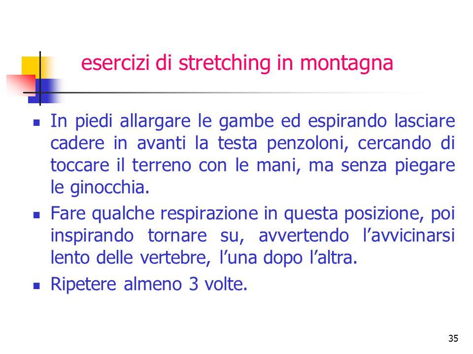 esercizi di stretching in montagna