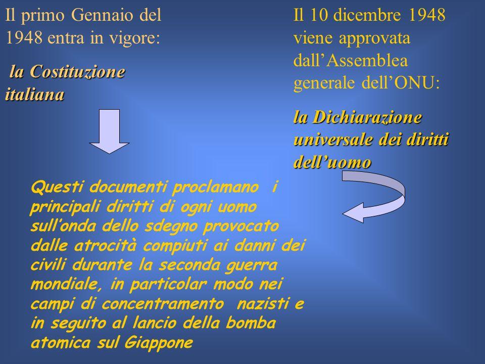 Il primo Gennaio del 1948 entra in vigore: la Costituzione italiana