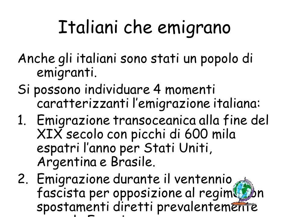Italiani che emigrano Anche gli italiani sono stati un popolo di emigranti. Si possono individuare 4 momenti caratterizzanti l'emigrazione italiana: