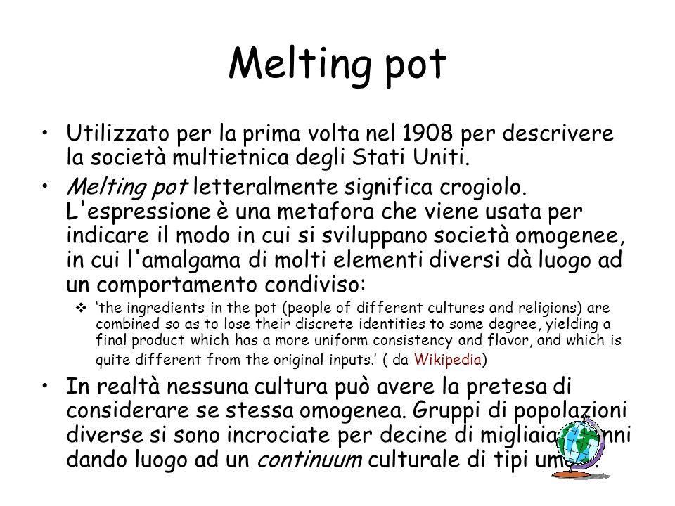 Melting pot Utilizzato per la prima volta nel 1908 per descrivere la società multietnica degli Stati Uniti.