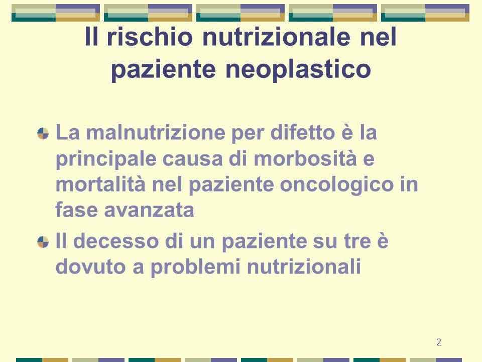 Il rischio nutrizionale nel paziente neoplastico