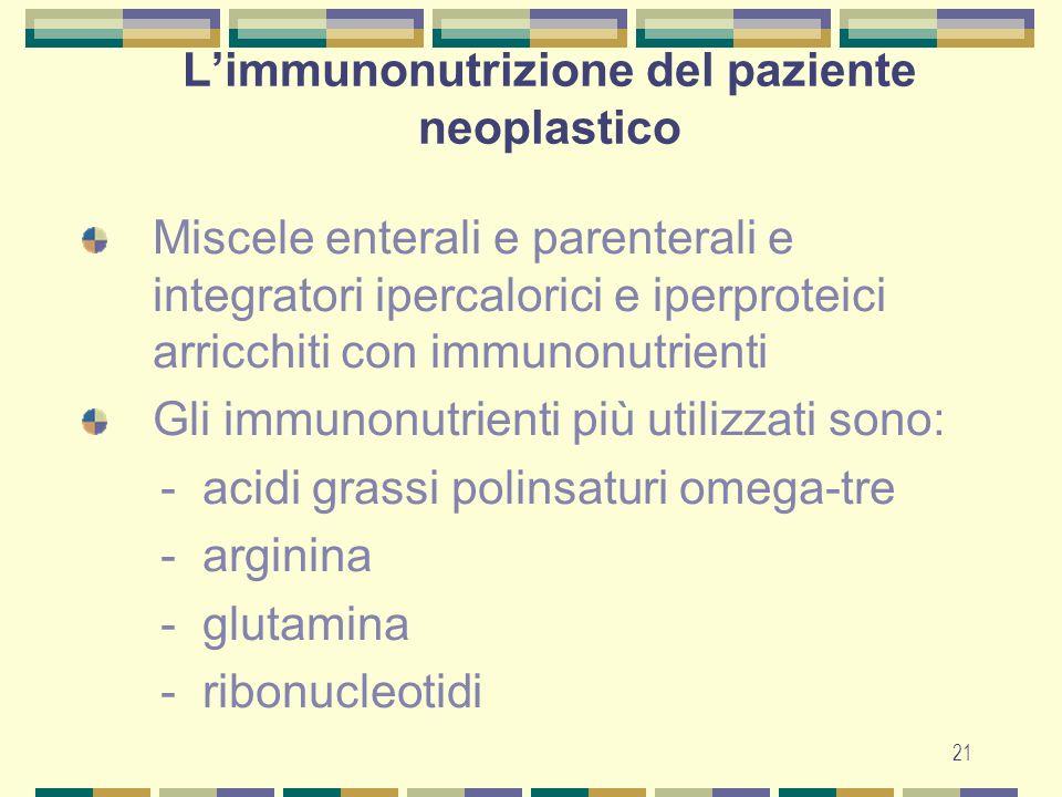 L'immunonutrizione del paziente neoplastico