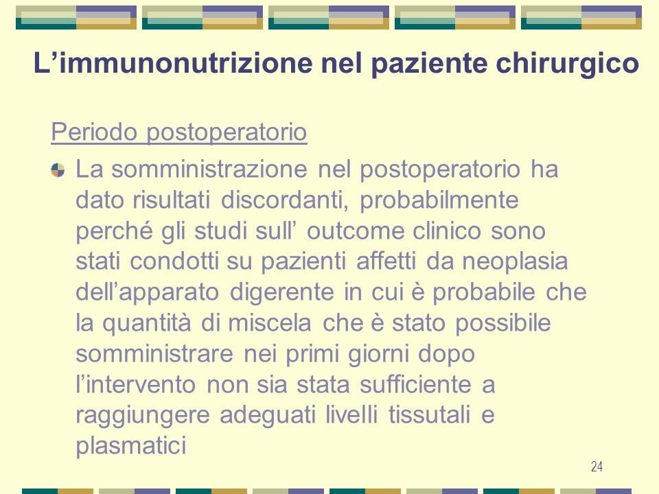 L'immunonutrizione nel paziente chirurgico
