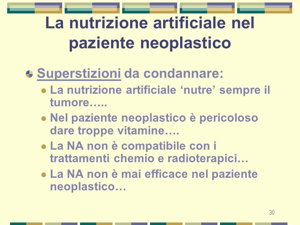 La nutrizione artificiale nel paziente neoplastico