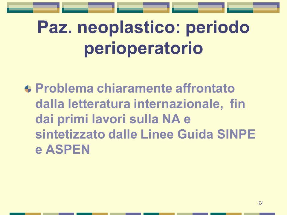 Paz. neoplastico: periodo perioperatorio