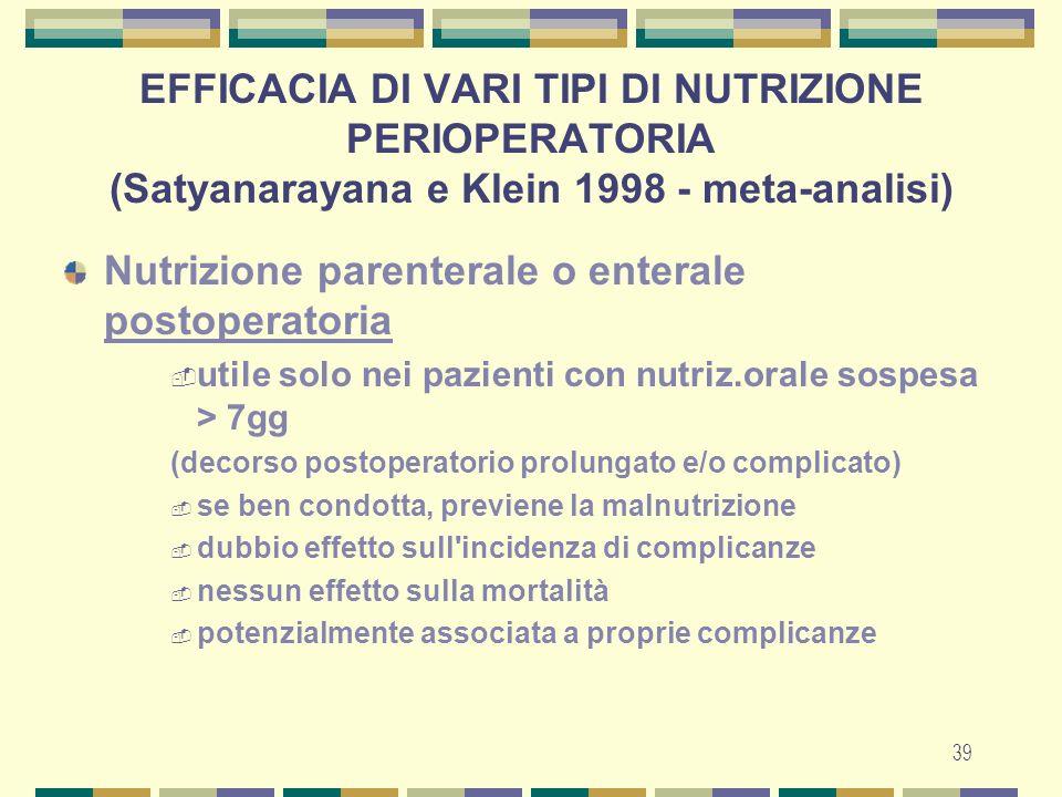 Nutrizione parenterale o enterale postoperatoria