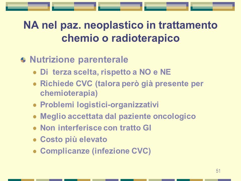 NA nel paz. neoplastico in trattamento chemio o radioterapico