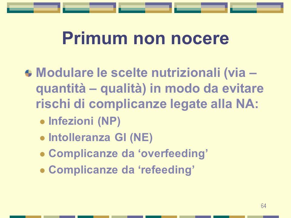 Primum non nocere Modulare le scelte nutrizionali (via – quantità – qualità) in modo da evitare rischi di complicanze legate alla NA: