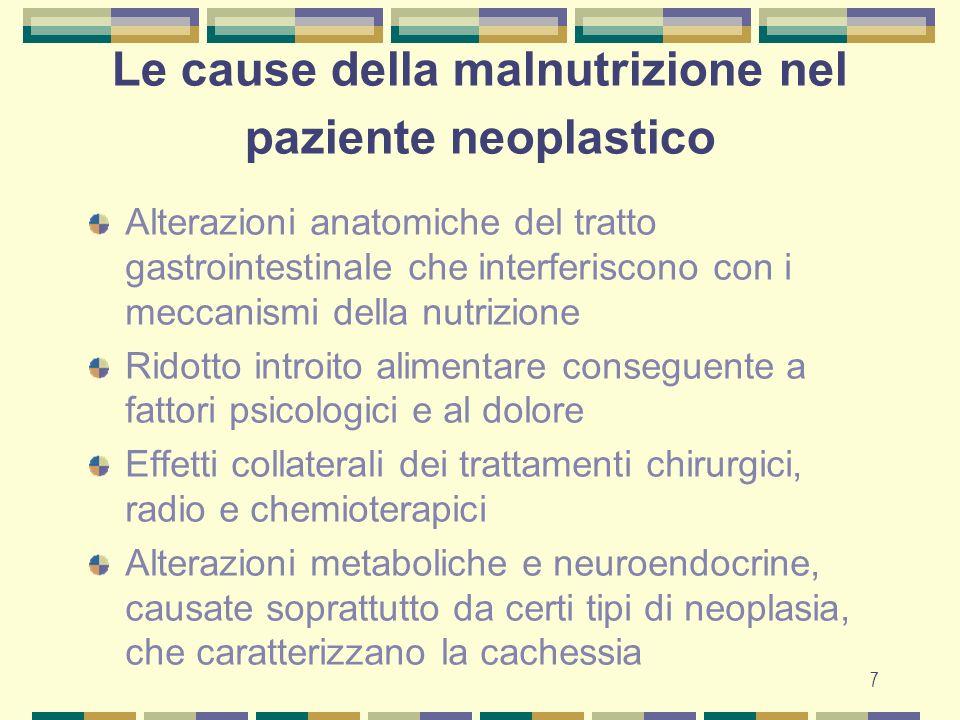 Le cause della malnutrizione nel paziente neoplastico