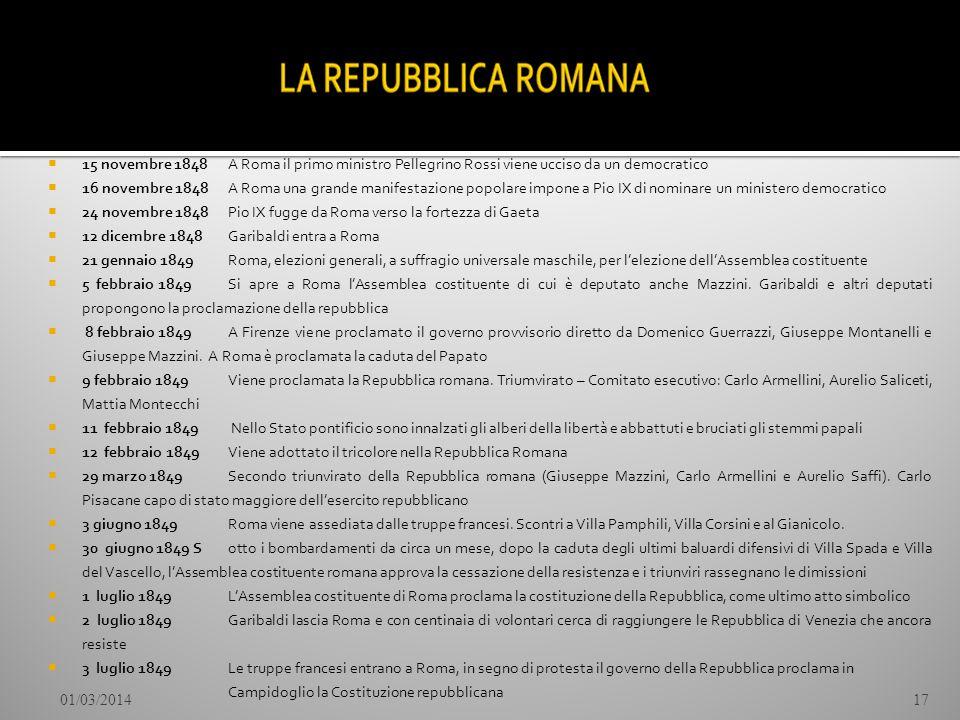 15 novembre 1848 A Roma il primo ministro Pellegrino Rossi viene ucciso da un democratico