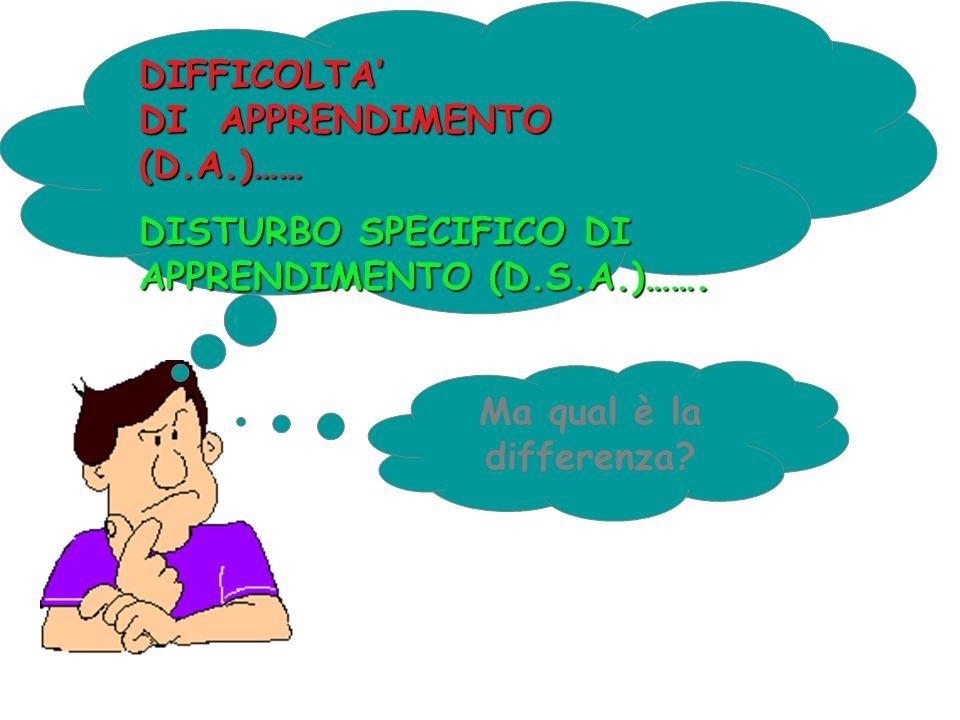 DIFFICOLTA' DI APPRENDIMENTO (D.A.)…… DISTURBO SPECIFICO DI APPRENDIMENTO (D.S.A.)…….