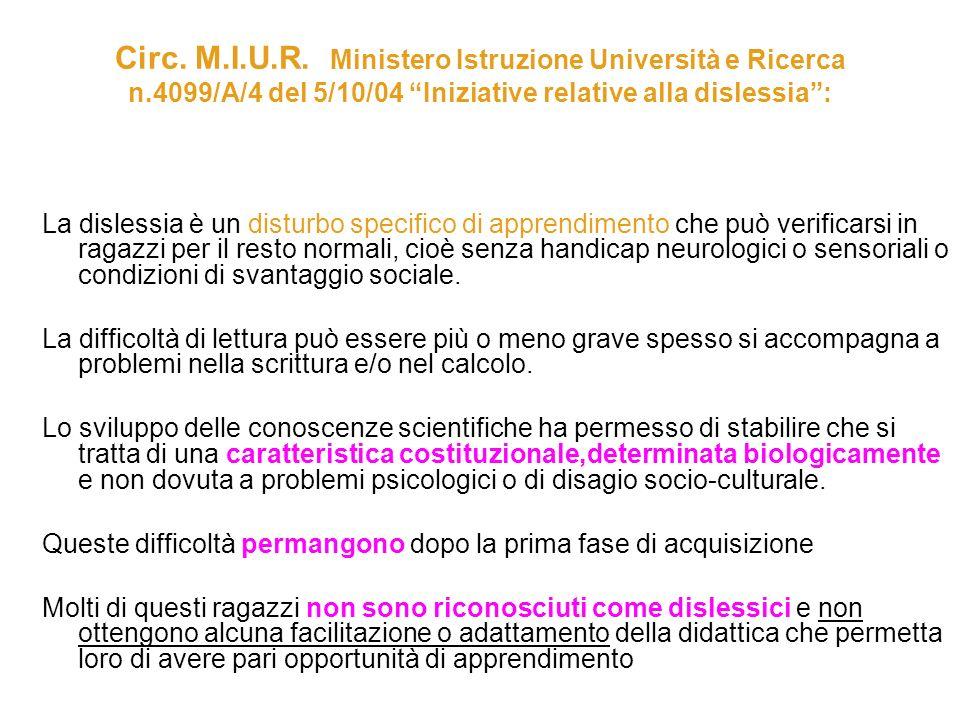 Circ. M. I. U. R. Ministero Istruzione Università e Ricerca n