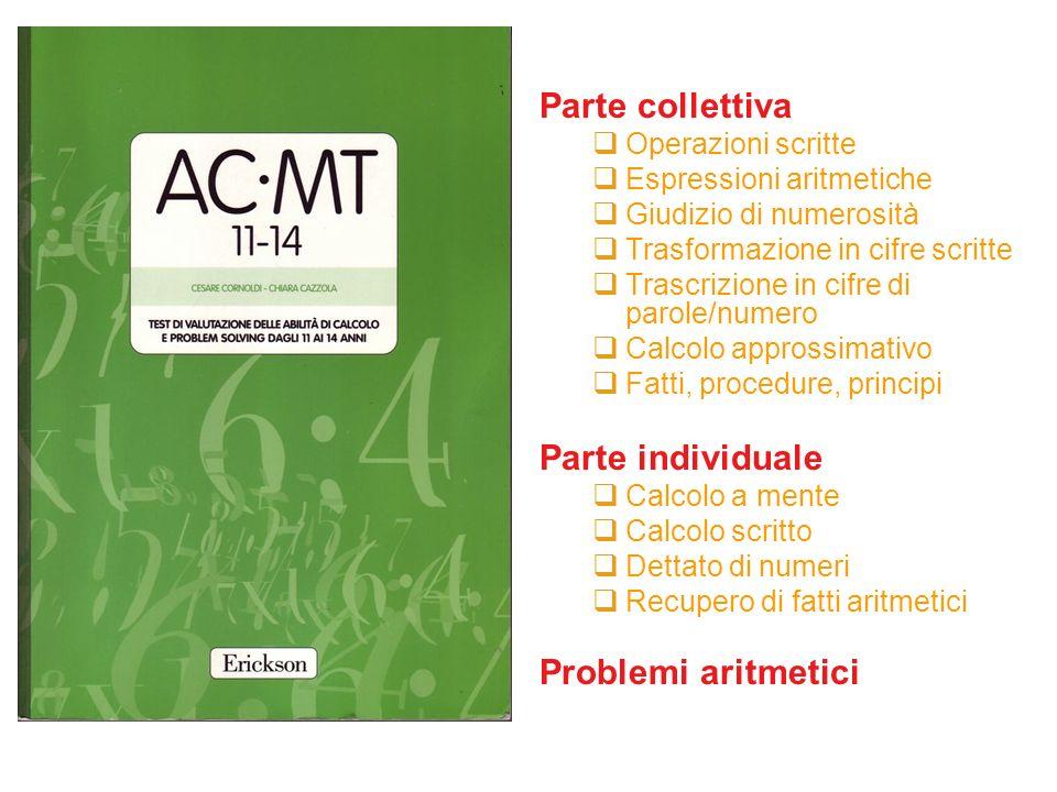 Parte collettiva Parte individuale Problemi aritmetici