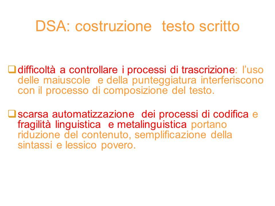 DSA: costruzione testo scritto