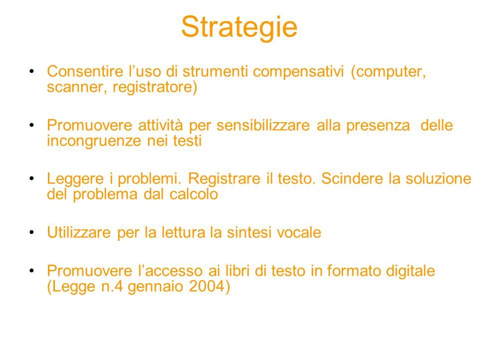 Strategie Consentire l'uso di strumenti compensativi (computer, scanner, registratore)
