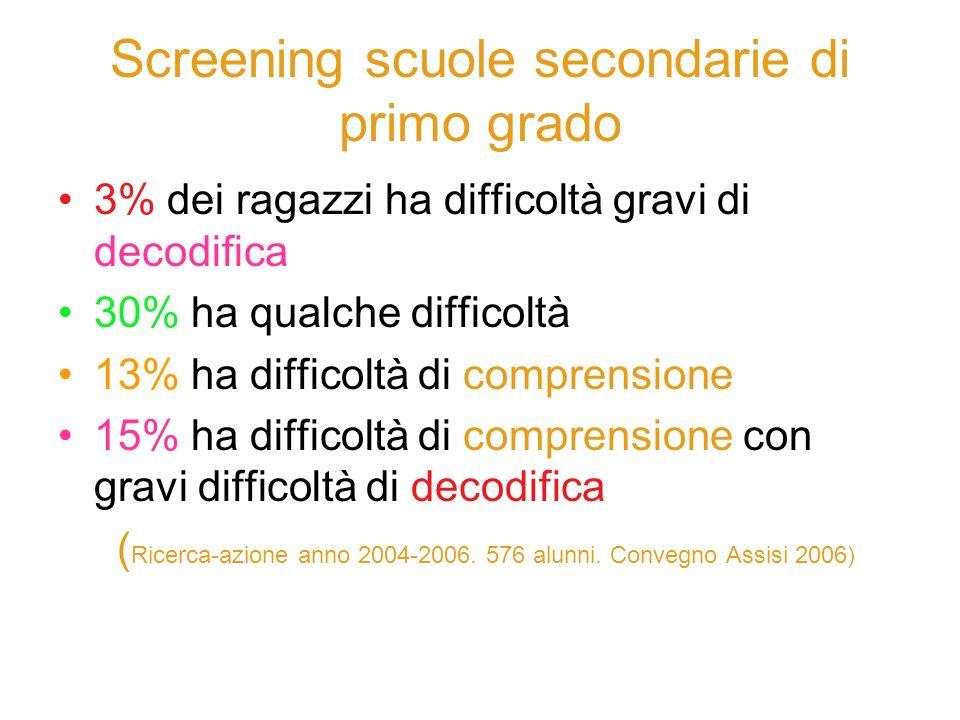 Screening scuole secondarie di primo grado