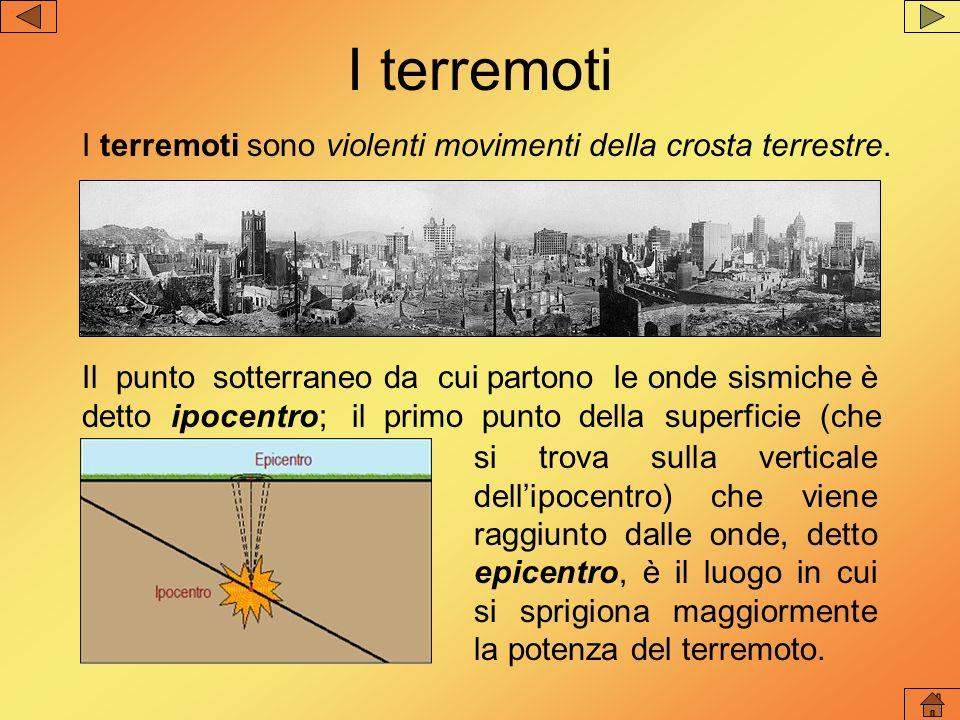 I terremoti I terremoti sono violenti movimenti della crosta terrestre.