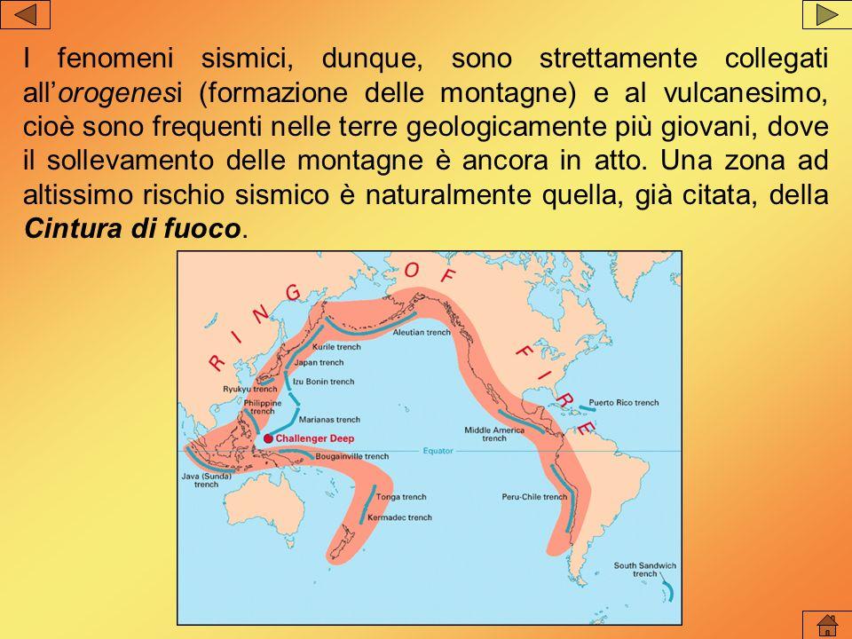 I fenomeni sismici, dunque, sono strettamente collegati all'orogenesi (formazione delle montagne) e al vulcanesimo, cioè sono frequenti nelle terre geologicamente più giovani, dove il sollevamento delle montagne è ancora in atto.
