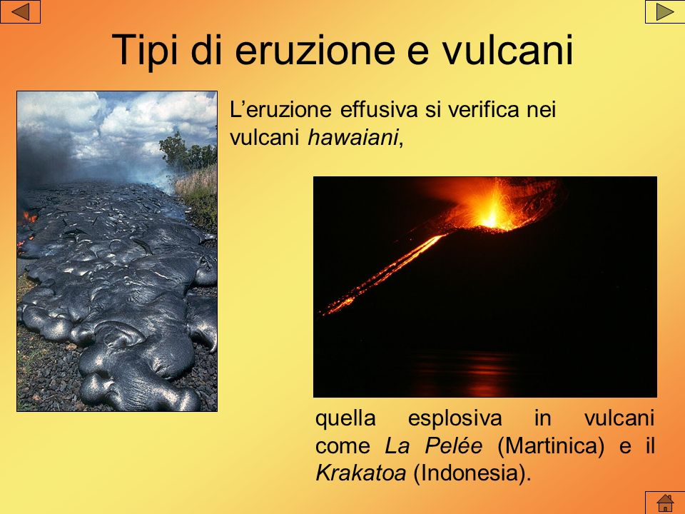 Tipi di eruzione e vulcani