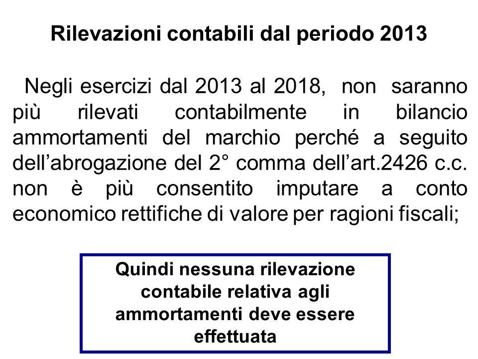 Rilevazioni contabili dal periodo 2013