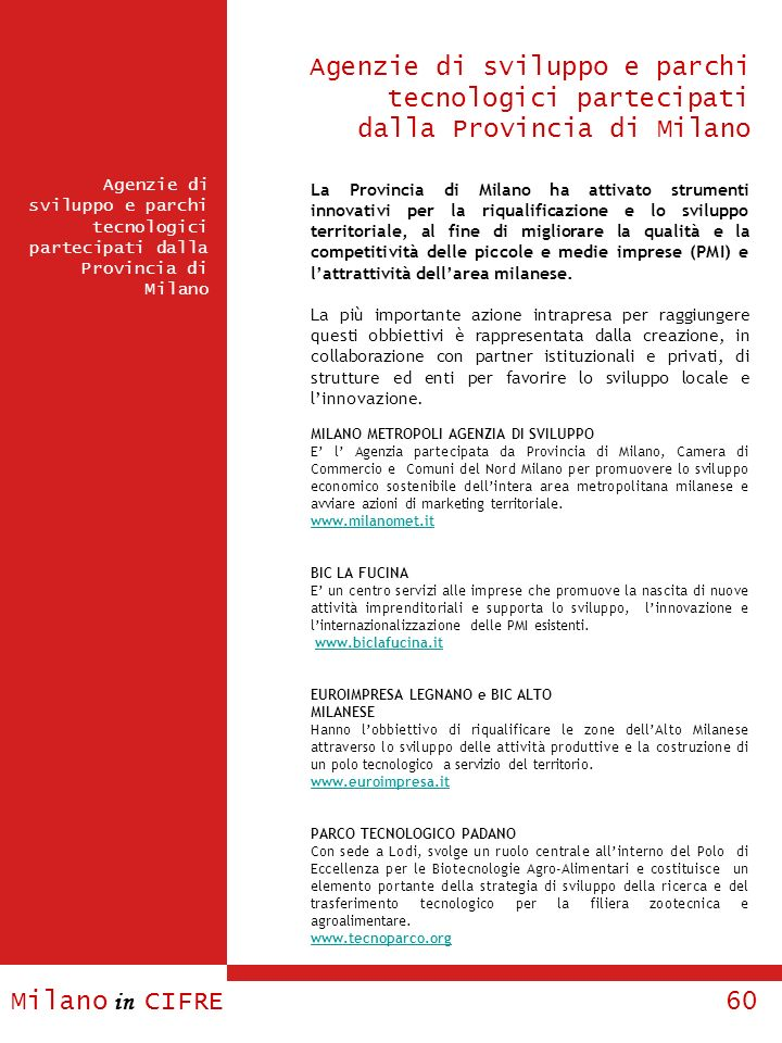 Agenzie di sviluppo e parchi tecnologici partecipati dalla Provincia di Milano