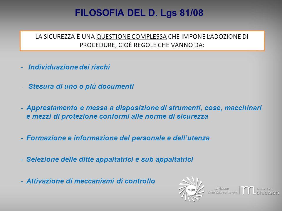 FILOSOFIA DEL D. Lgs 81/08 LA SICUREZZA È UNA QUESTIONE COMPLESSA CHE IMPONE L'ADOZIONE DI PROCEDURE, CIOÈ REGOLE CHE VANNO DA: