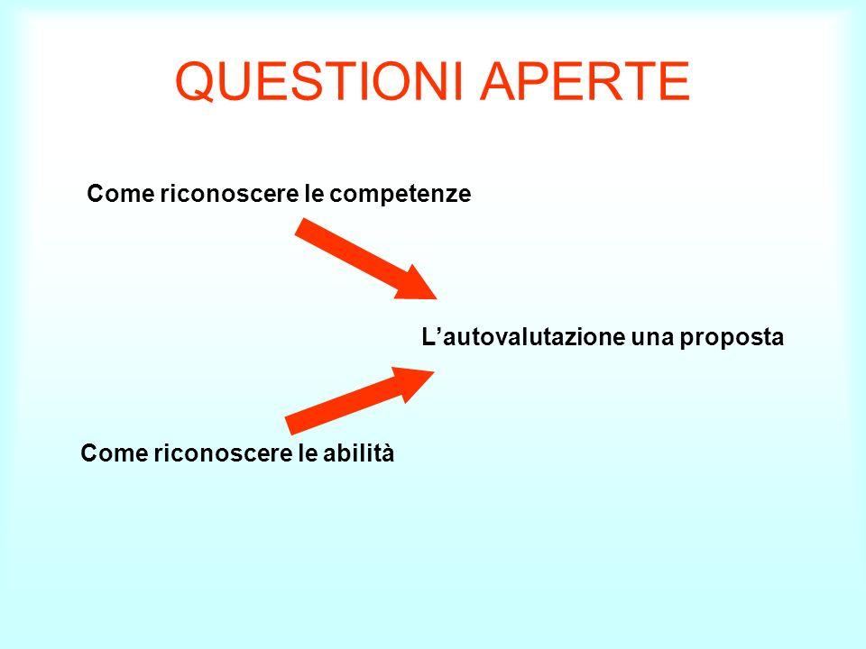 QUESTIONI APERTE Come riconoscere le competenze