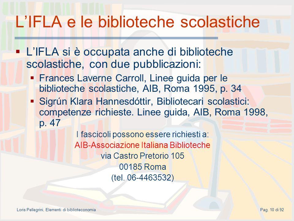 L'IFLA e le biblioteche scolastiche
