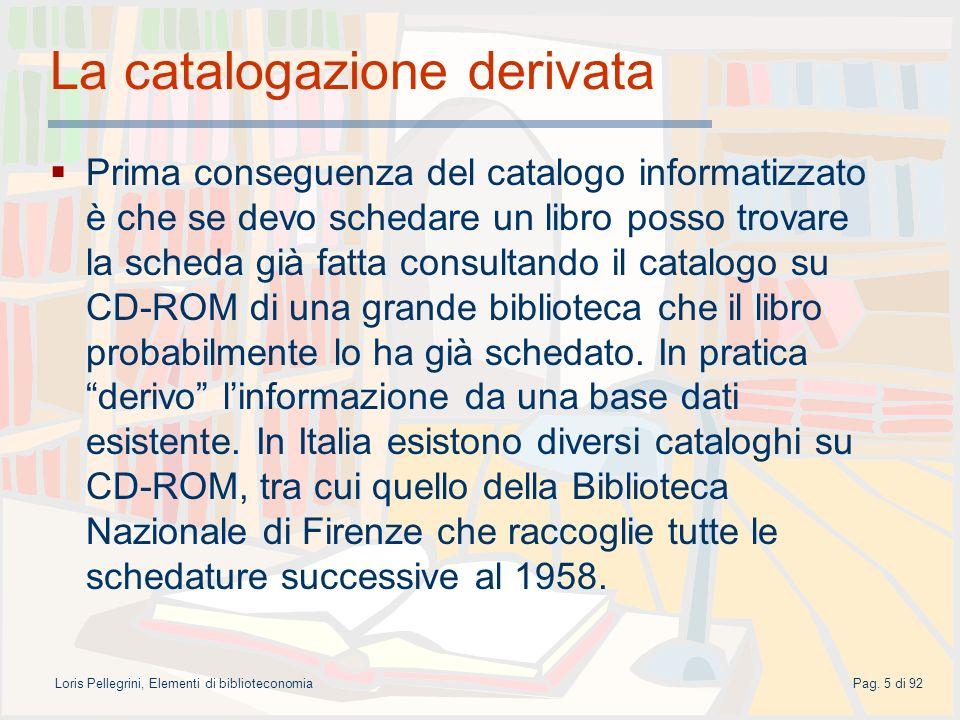 La catalogazione derivata