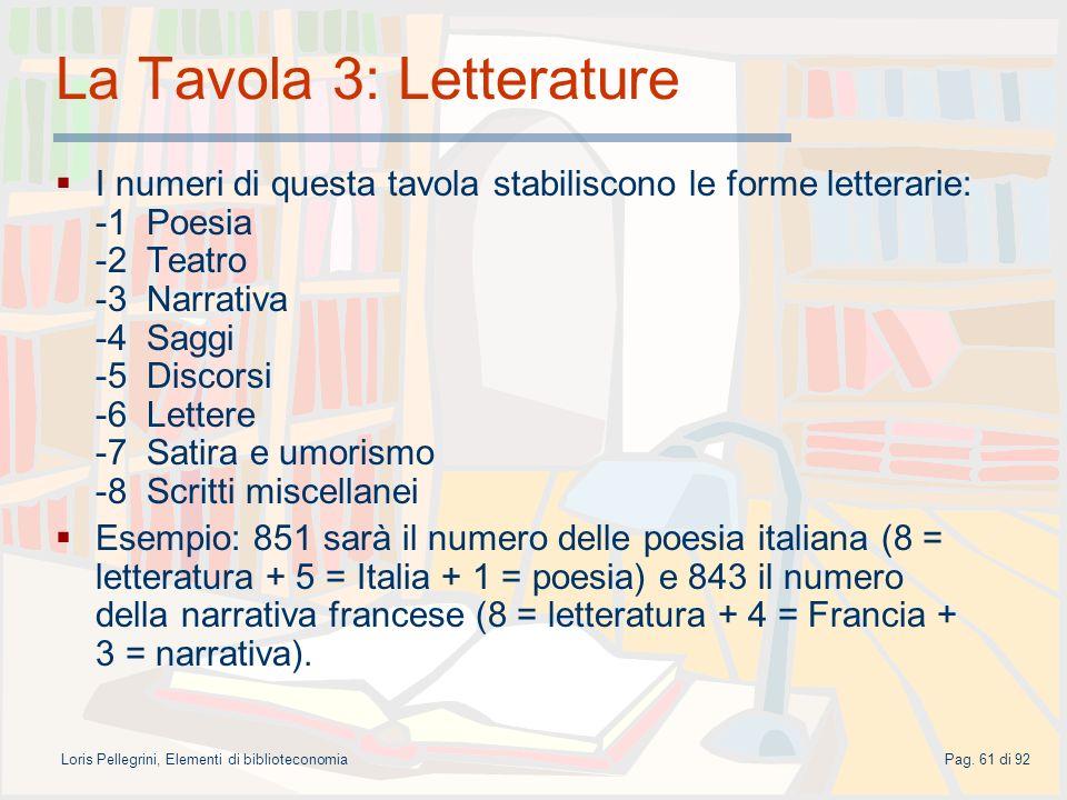 La Tavola 3: Letterature