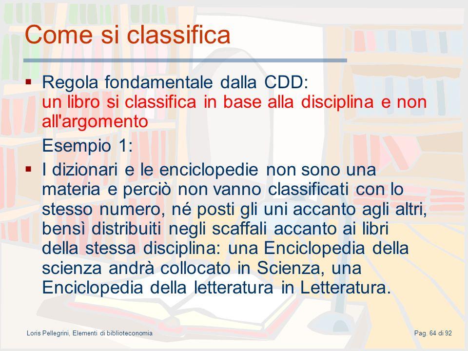 Loris Pellegrini, Elementi di biblioteconomia