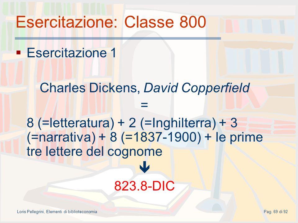 Esercitazione: Classe 800