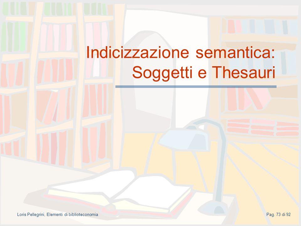 Indicizzazione semantica: Soggetti e Thesauri
