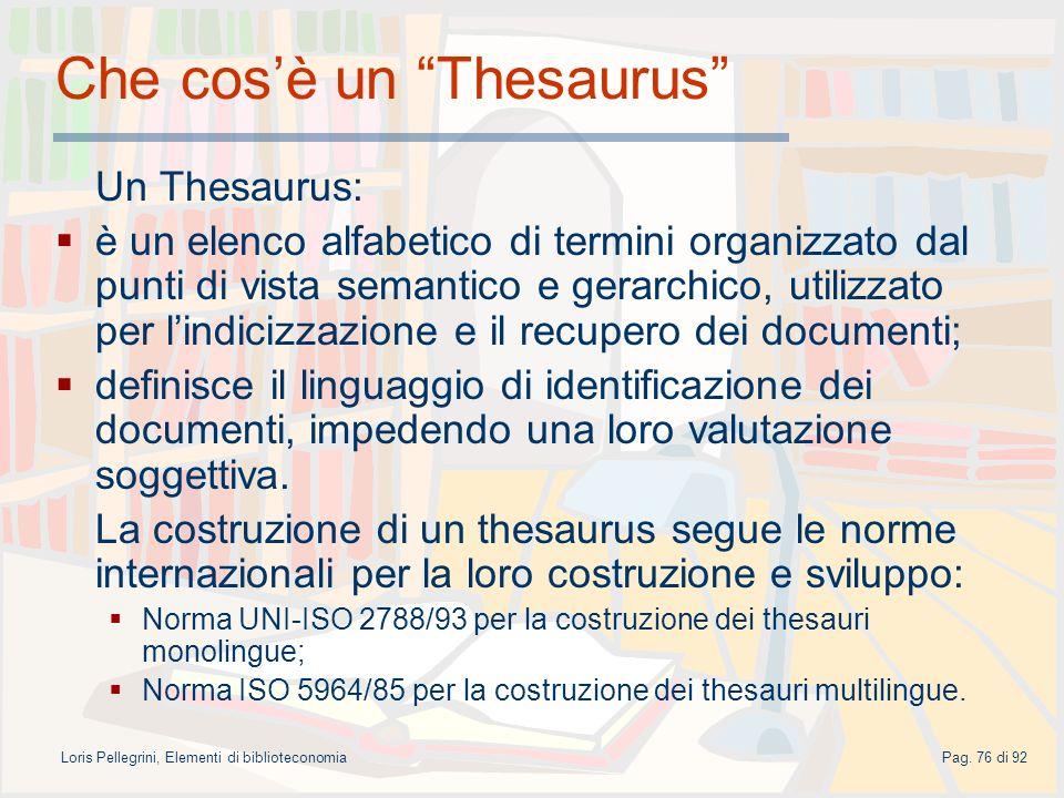 Che cos'è un Thesaurus